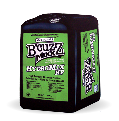 """B'cuzz Hydromix HP is a """"high porosity"""" professional growing medium formulated for the serious grower. The light weight and high porosity of B'cuzz Hydromix HP provide conditions necessary to establish plant growth, especially when growing situations require high air-capacity and low water-retention media.  These characteristics make B'cuzz Hydromix HP ideal for use with water sensitive crops, propagation of plant cuttings and/or low-light conditions."""