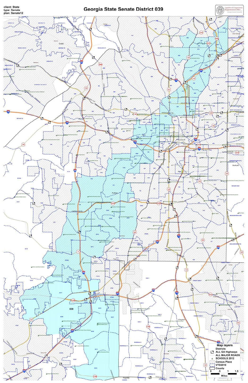 Georgia State Senate District 39 - With a population of about 189,356 constituents, SD39 is located within Fulton County and includes parts of Atlanta, College Park, East Point, Union City, and South Fulton.
