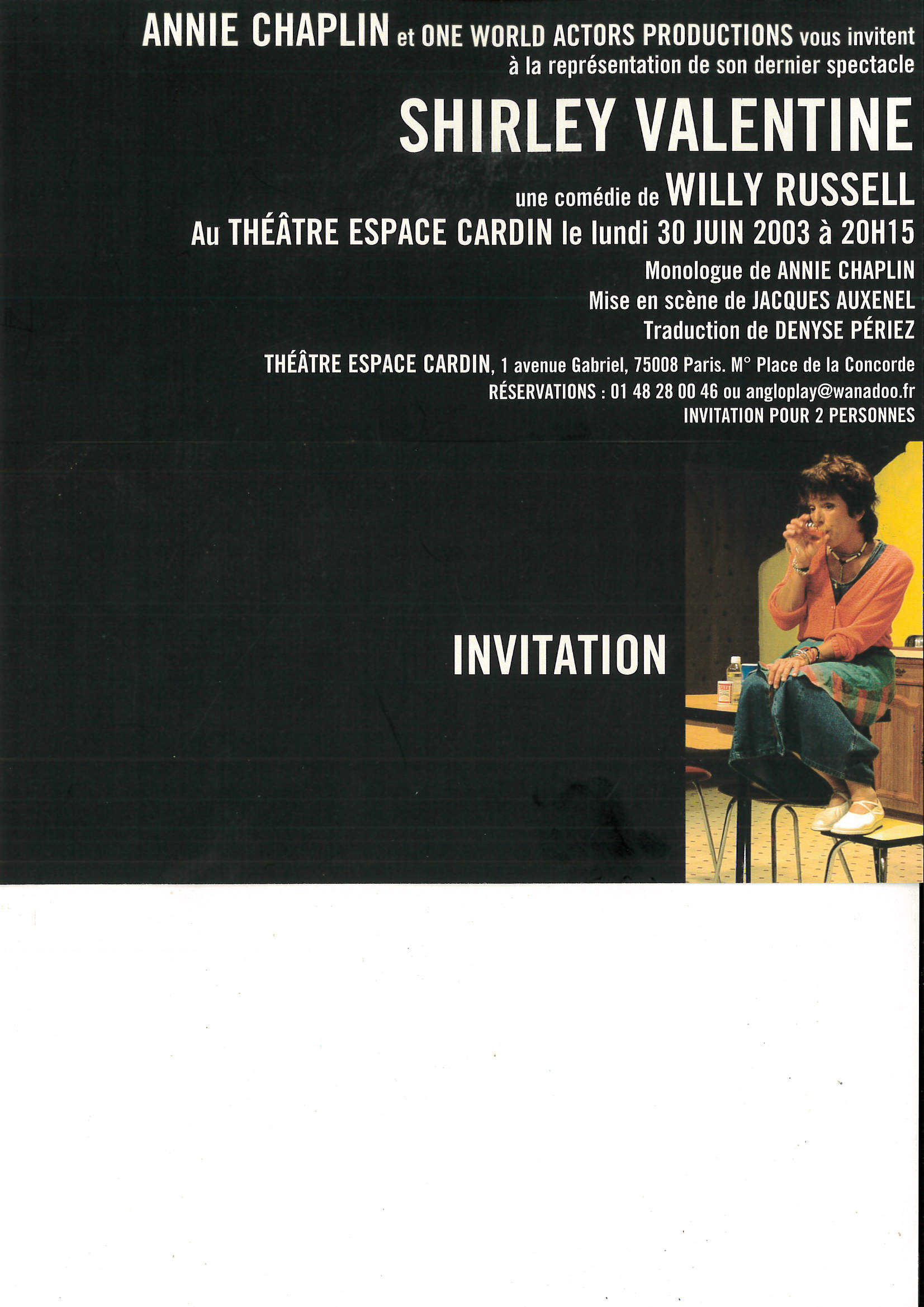 OWAP presenting Charlie Chaplin's daughter in SHIRLEY VALENTINE at Espace Cardin Paris France.jpg
