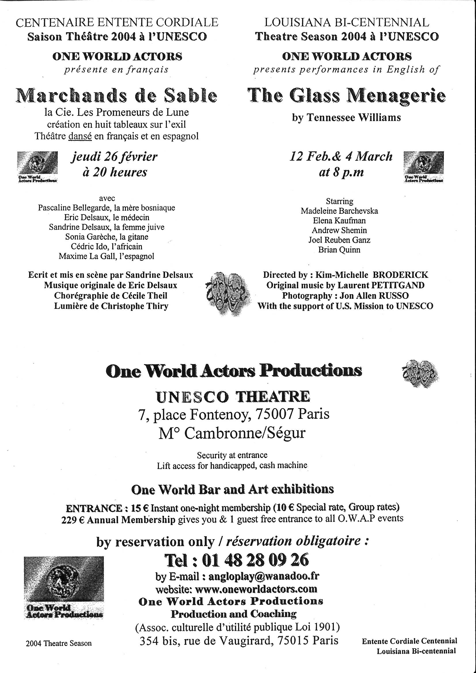 WAP leaflet entire THE GLASS MENAGERIE UNESCO Paris France Kim Michelle Broderick Producer and Director OWAP Founding President.jpg