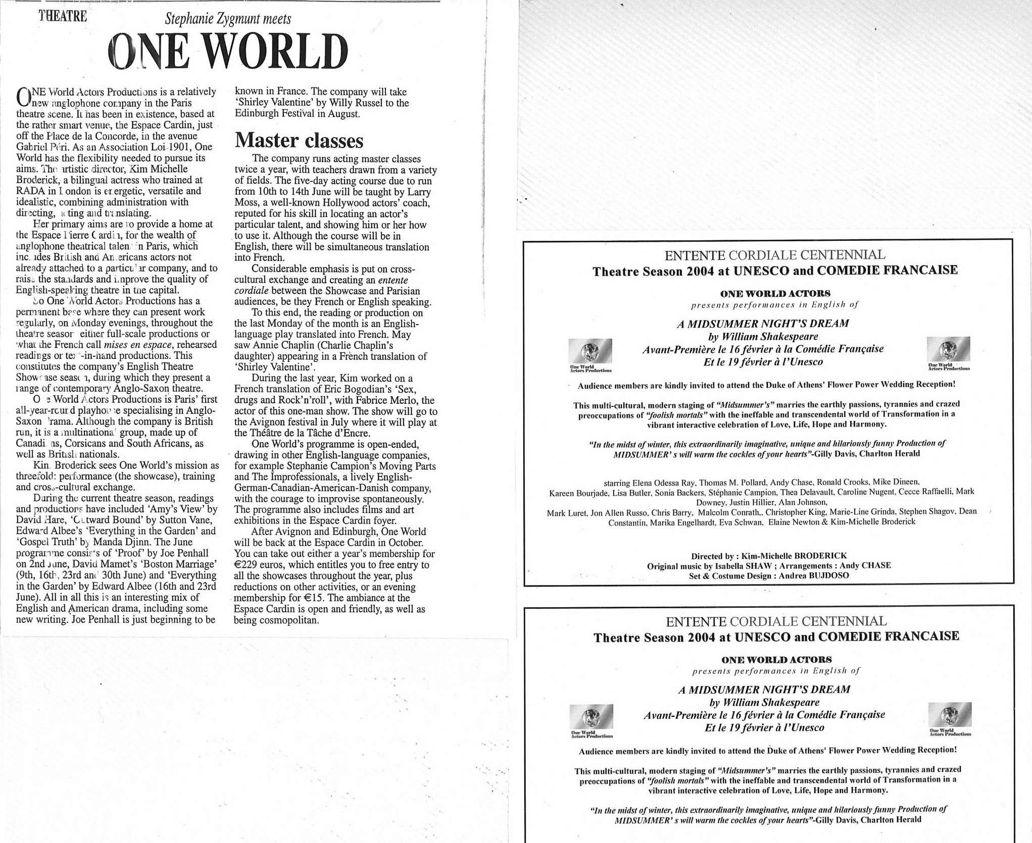 One World Actors productions article , leaflet UNESCO and Comédie Française Paris Kim Michelle's creation A MIDSUMMER NIGHT'S DREAM by W.Shakespeare.jpg