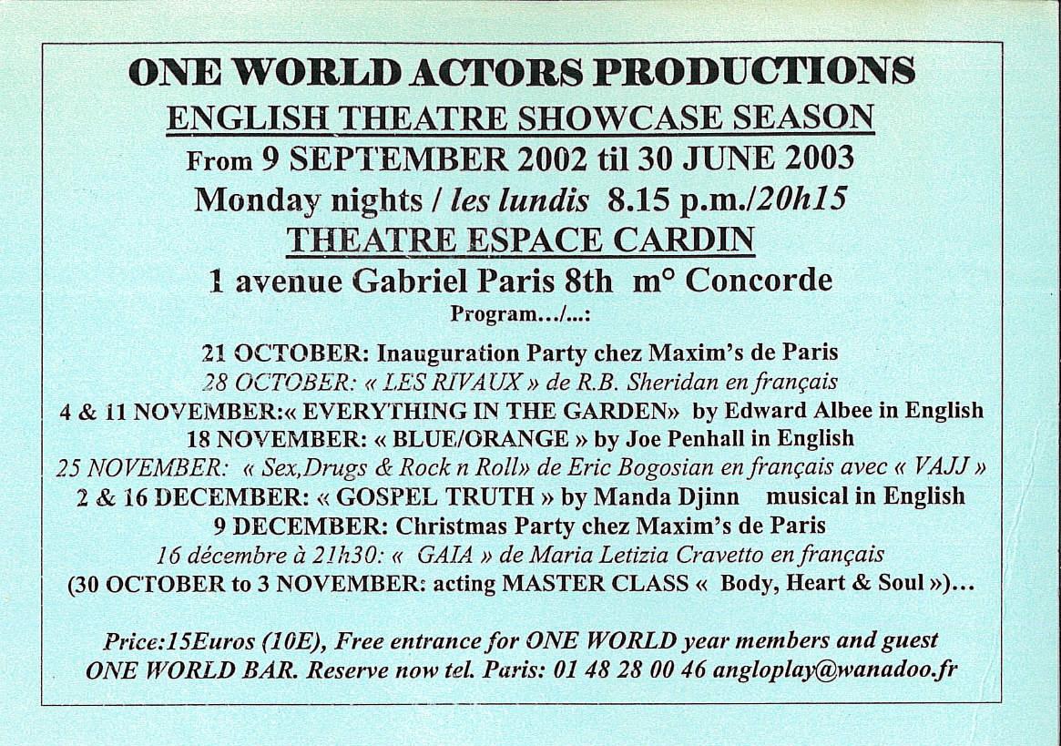 OWAP   programme leaflet Espace Cardin Paris France Kim Michelle BRODERICK Producer, Director, Artistic Director .jpg