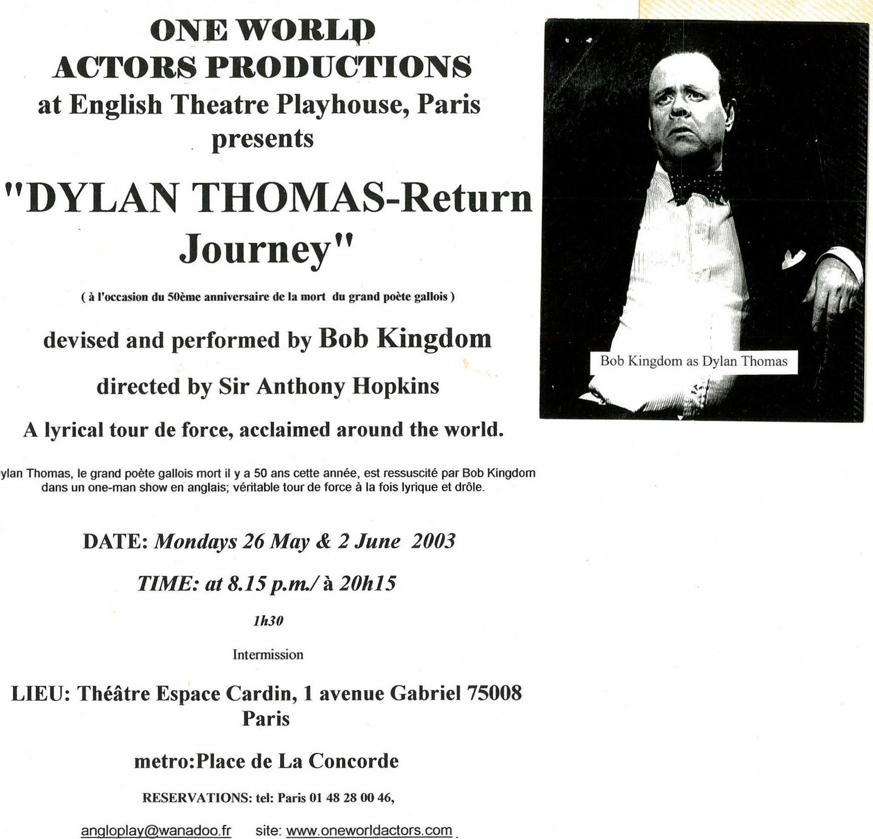 One World Actors Productions DYLAN THOMAS  Espace Cardin Paris.jpg