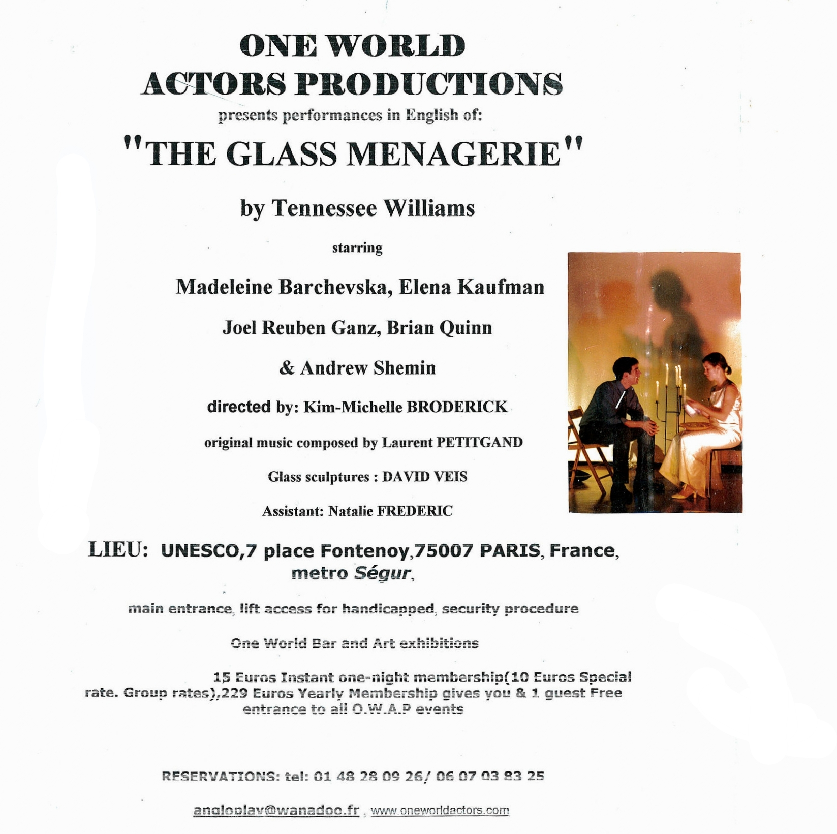 Oe World Actors Productions creation of THE GLASS MENAGERIE by Tennessee Williams UNESCO Paris France.jpg