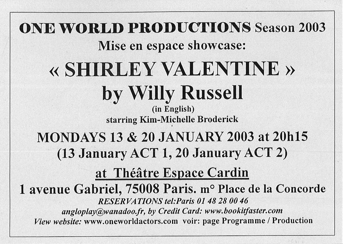OWAP leaflet SHIRLEY VALENTINE in English performed by Kim Michelle BRODERICK Espace Cardin .jpg