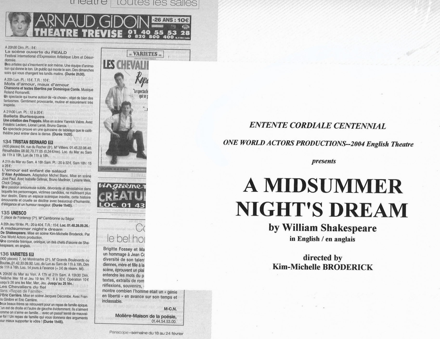 A Midsummer Night's Dream OWAP produced and directed by Kim Michelle BRODERICK Pariscope annonce.jpg