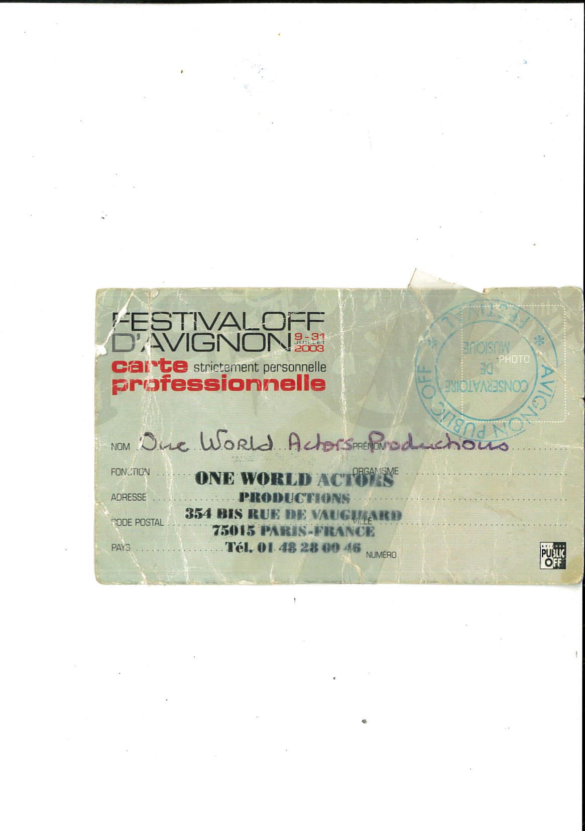 OWAP AVIGNON THEATRE FESTIVAL PRO ID CARD .jpg