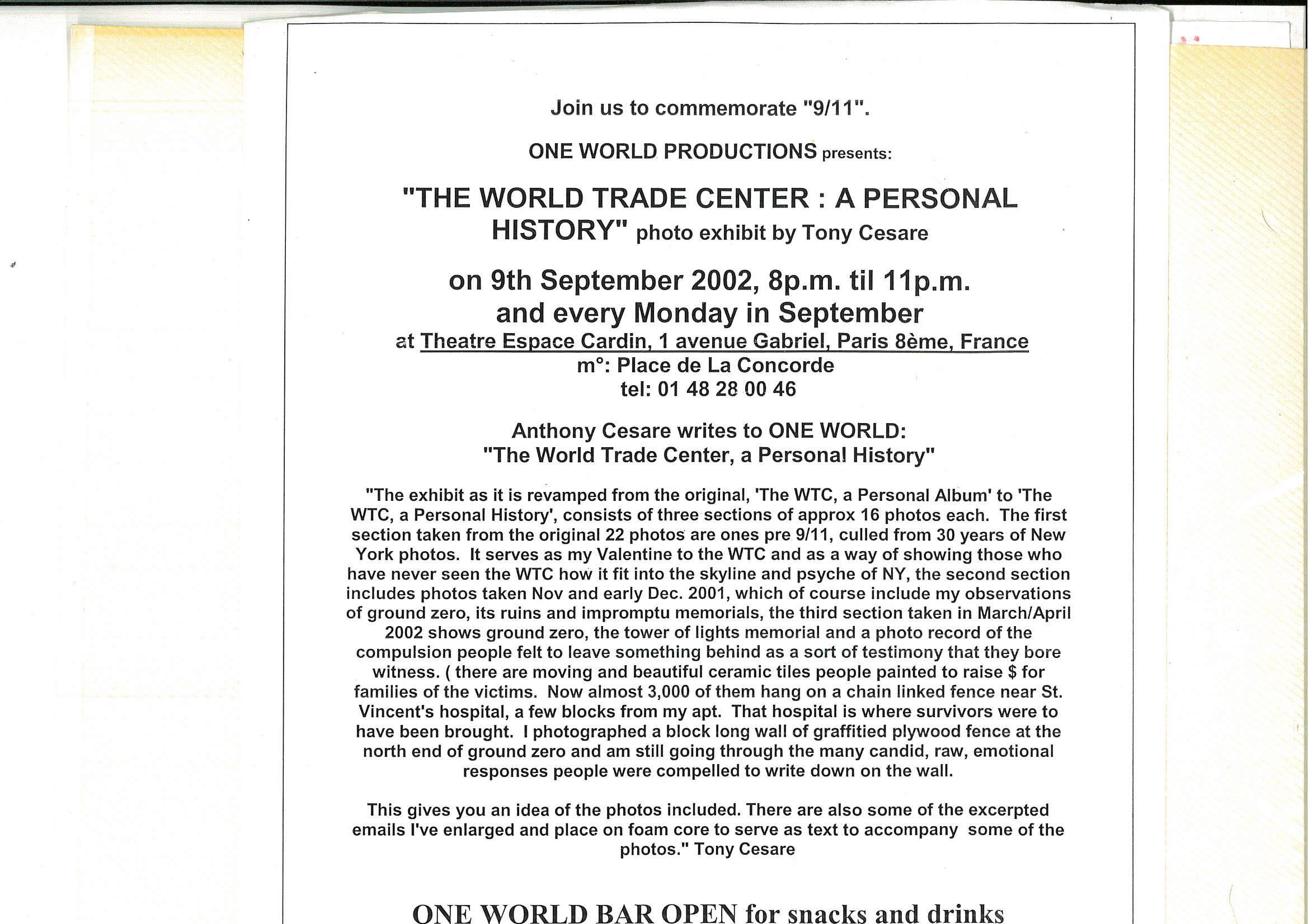 OWAP  WTC commemoration photo exhibit programme espace cardin paris tony's .jpg