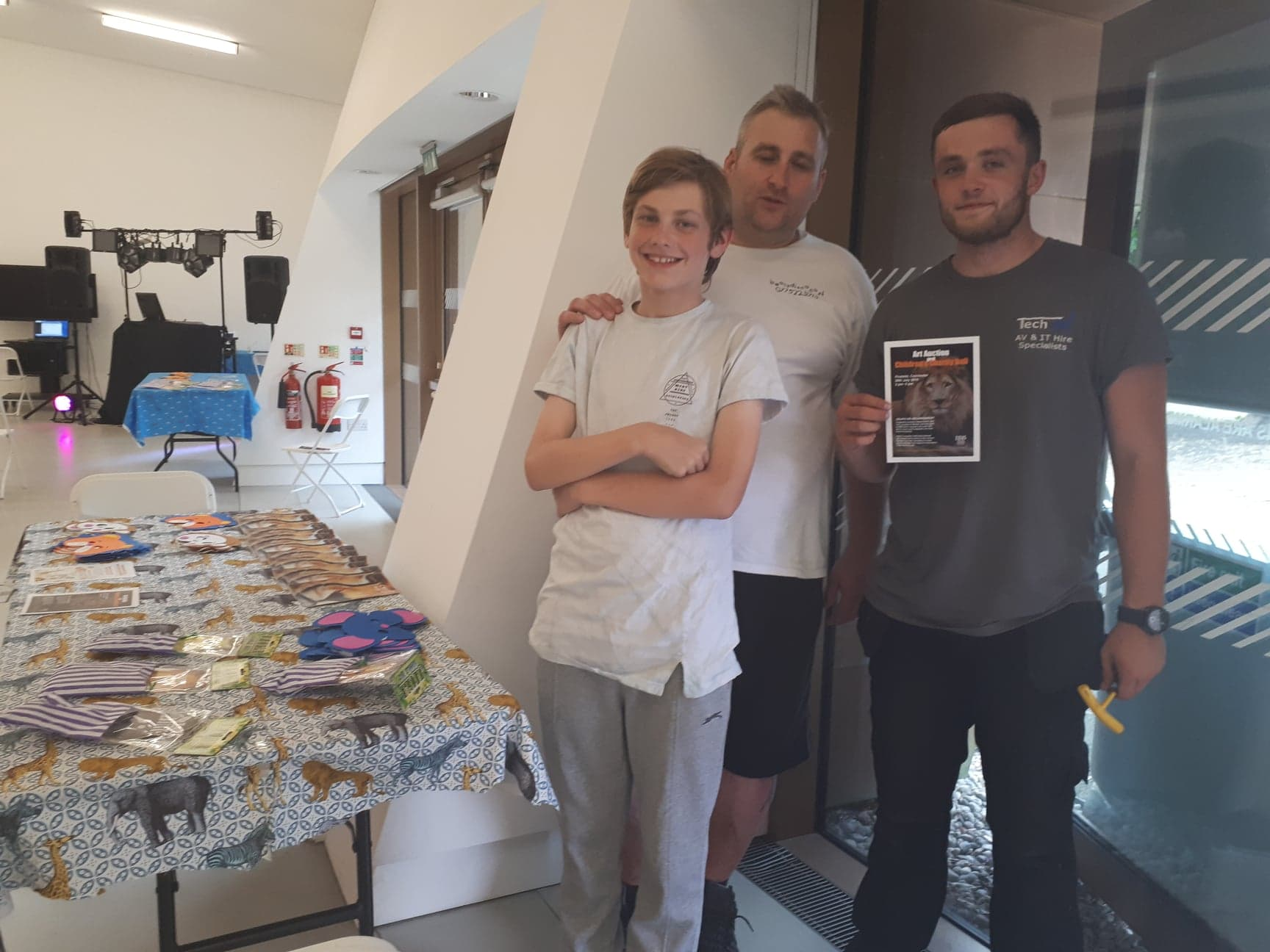 OWAP AR fundraiser 20 JULY 2018 firstsite gallery colchester ukWITH SIMON DJ  HIS SON VIGGO AND LEE TECHIE SET UP AUCTION DISCO SECTION OF THE FIRSTSITE GALLERY ROOMS.jpg
