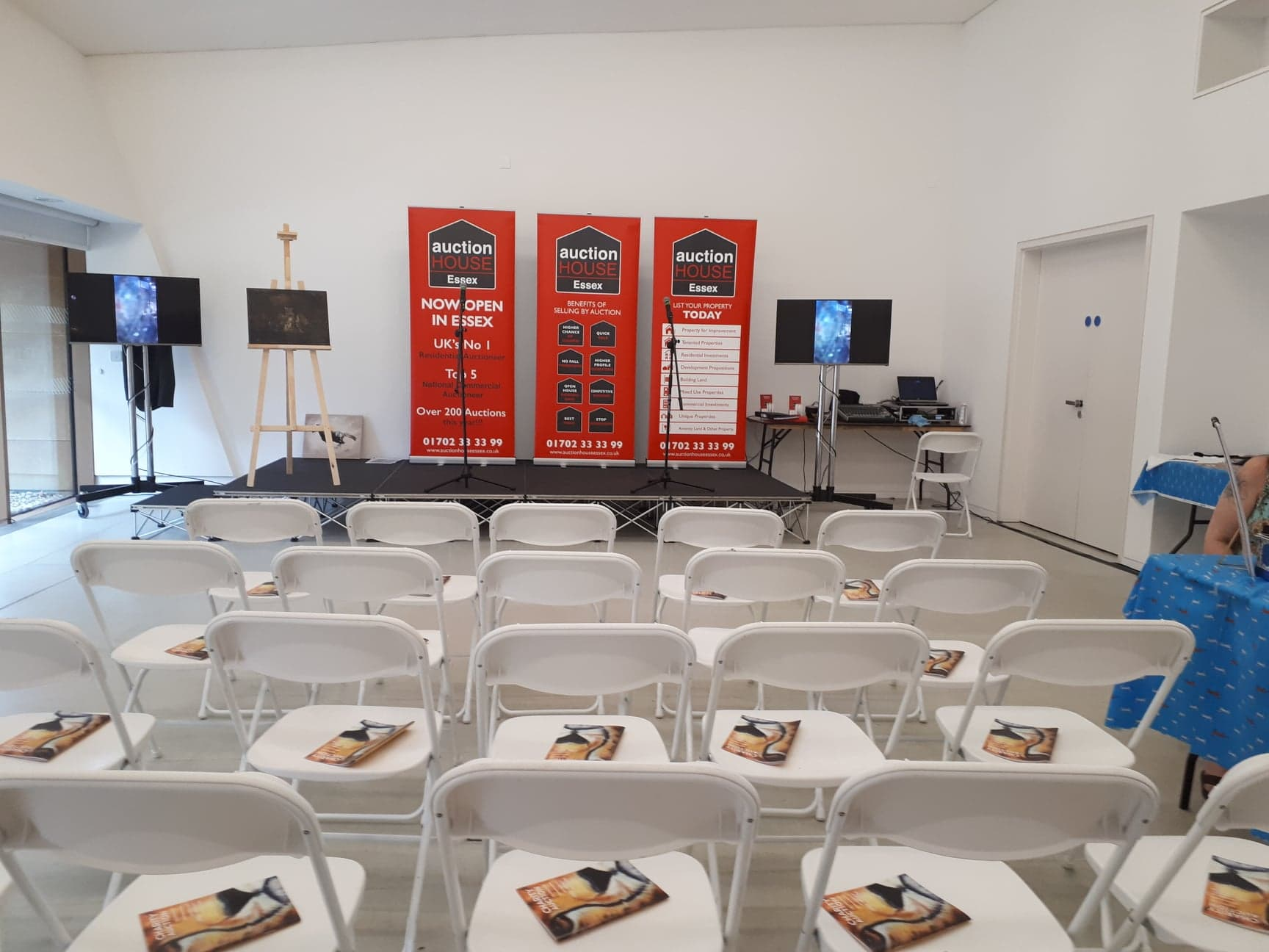 owap ar our fundraiser event set up auction section of the room firstsite colchester uk 20 JULY 2018.jpg