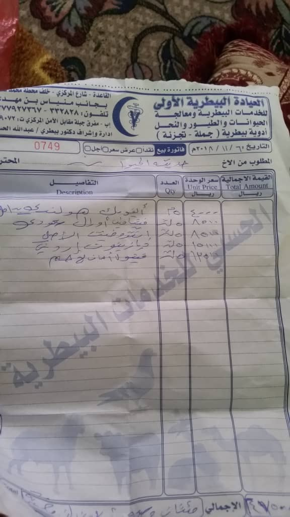 Ibb vet meds invoice ibb zoo 14 nov 2018 by hisham for OWAP-AR dr Nasr.jpg