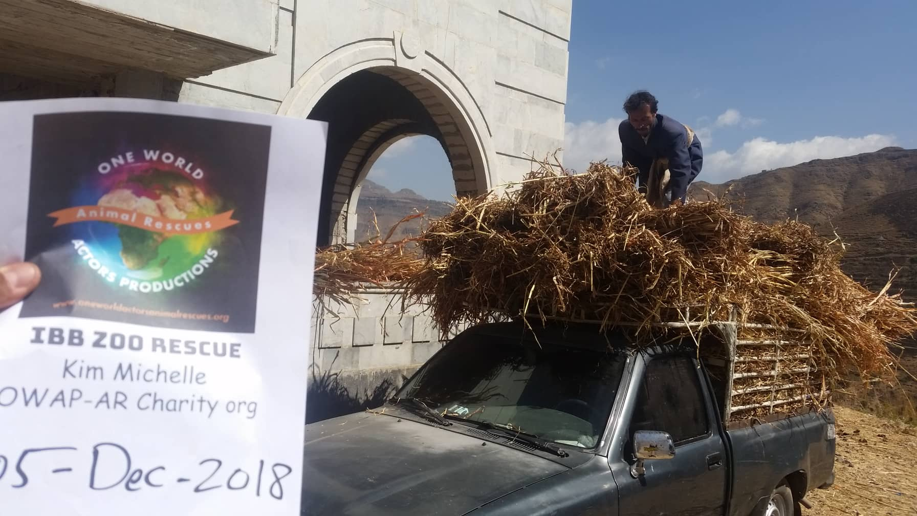 ibb zoo rescue by OWAP-AR yemen 5 dec 2018 zabedi delivering corn sticks  sign Hisham.jpg