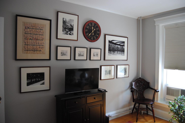 cambridge den photo wall