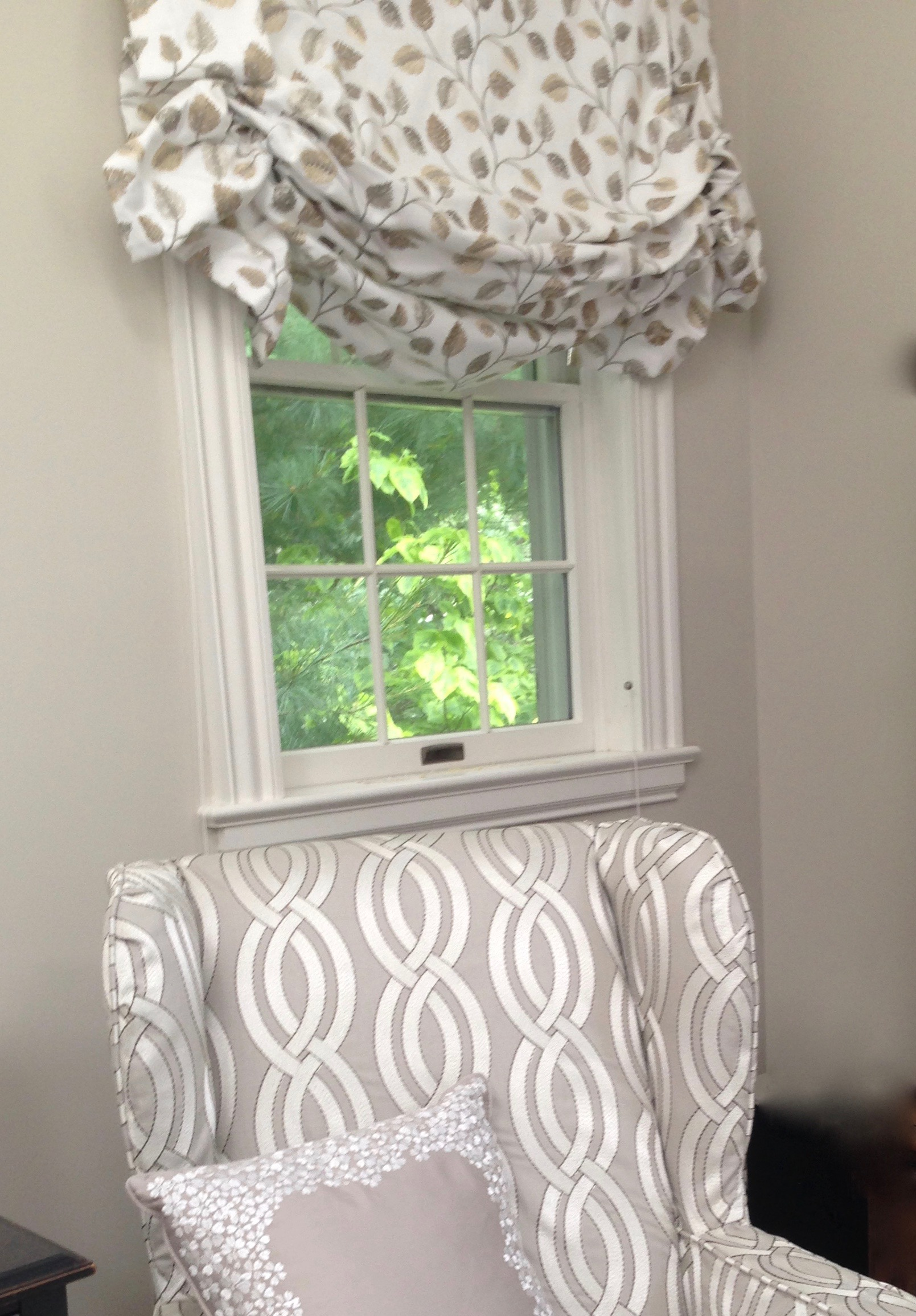 bedroom window 'after' soft roman shade, slipcovered wing chair