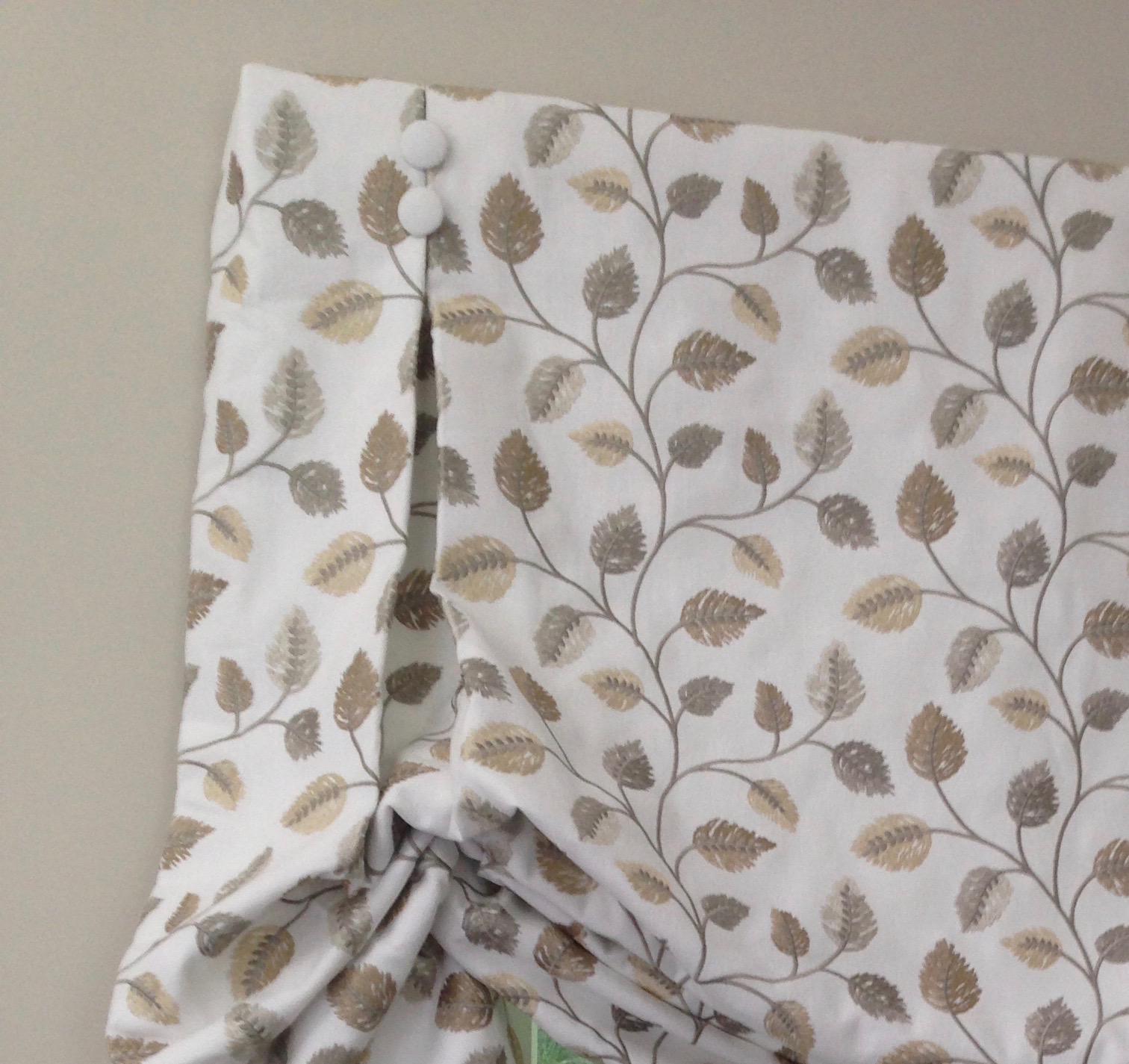 embroidered linen shades, covered button details