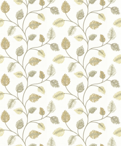 embroidered linen leaf fabric
