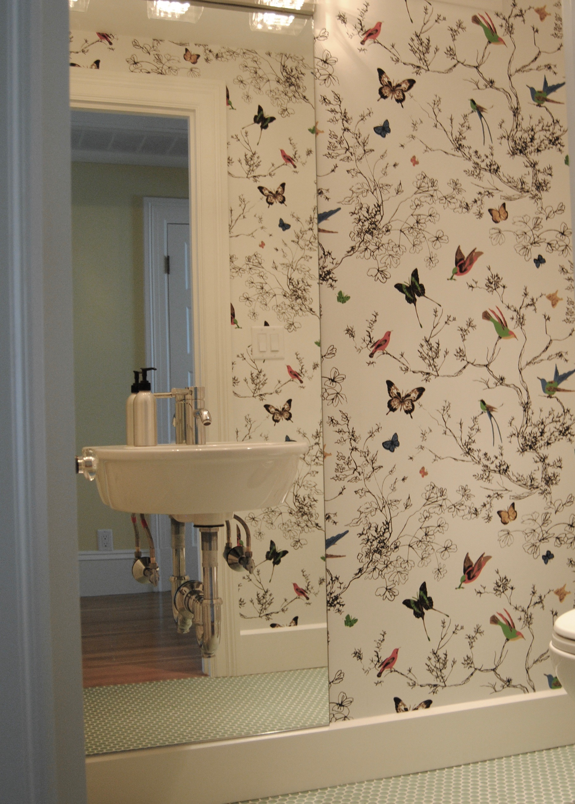 Powder Room with birds and butterflies wallpaper