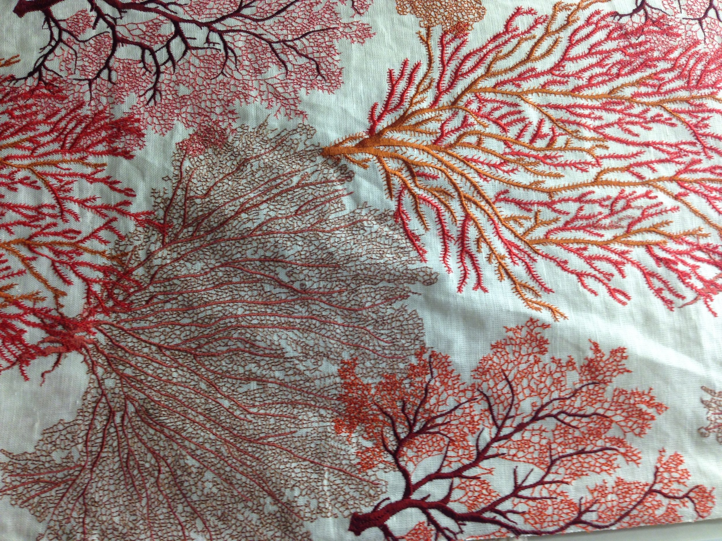 sea fans embroidered on linen
