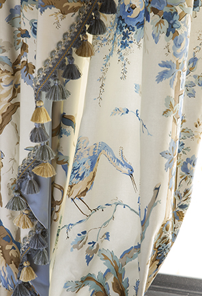 Brunschwig toile with tassel trim and contrast lining