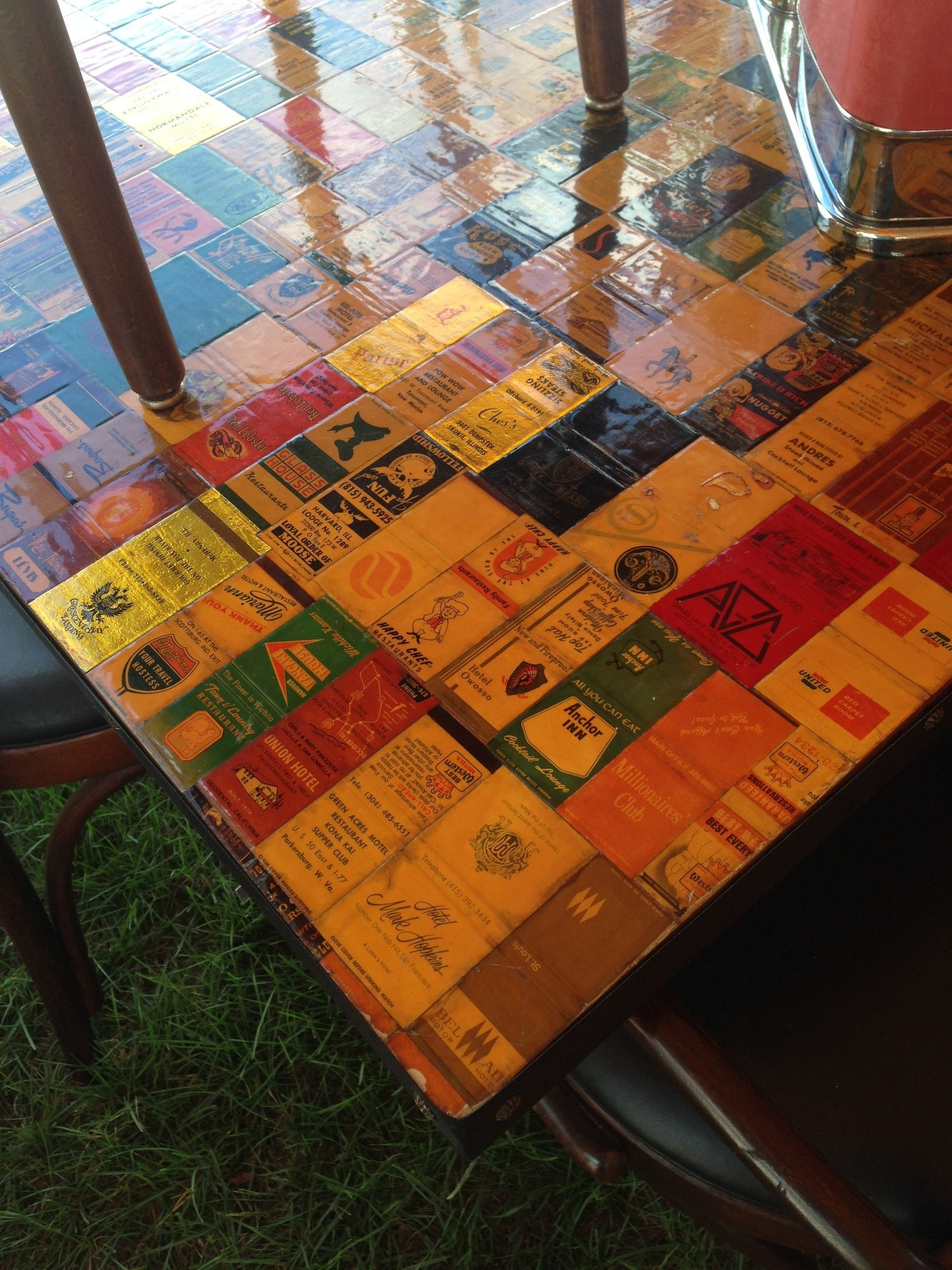 decoupage matchbook table