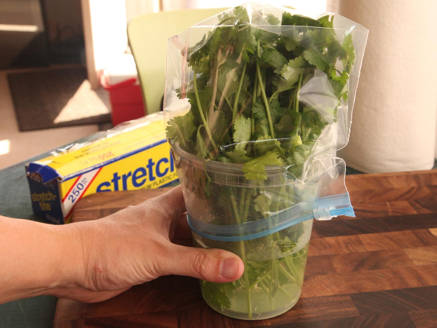 Storing your fresh herbs so they keep more than a few days is essential. This serious eats post is an excellent resource for which herbs to store what way and for how long. -