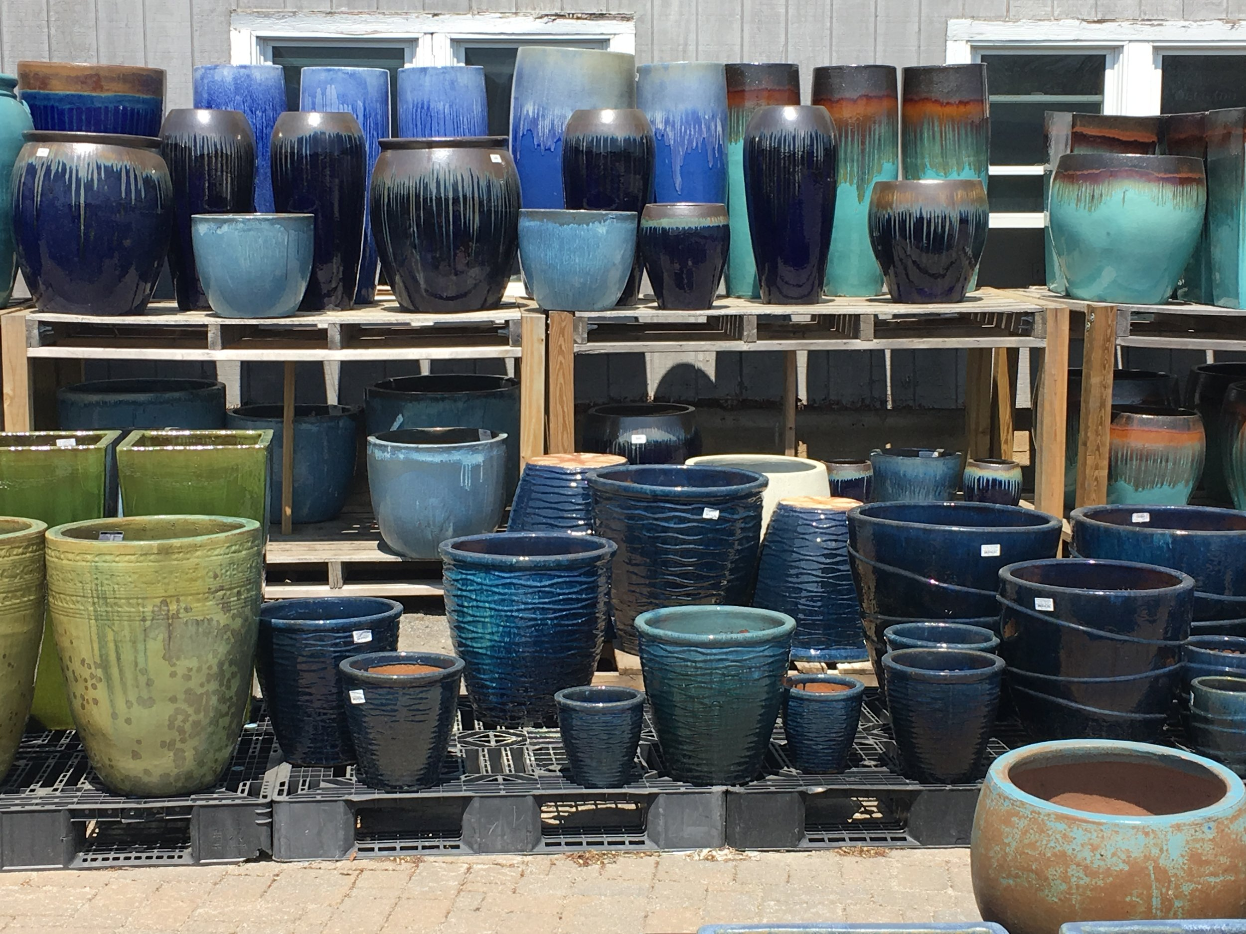 Fabulous collection of glazed planters in a huge variety of shapes and sizes