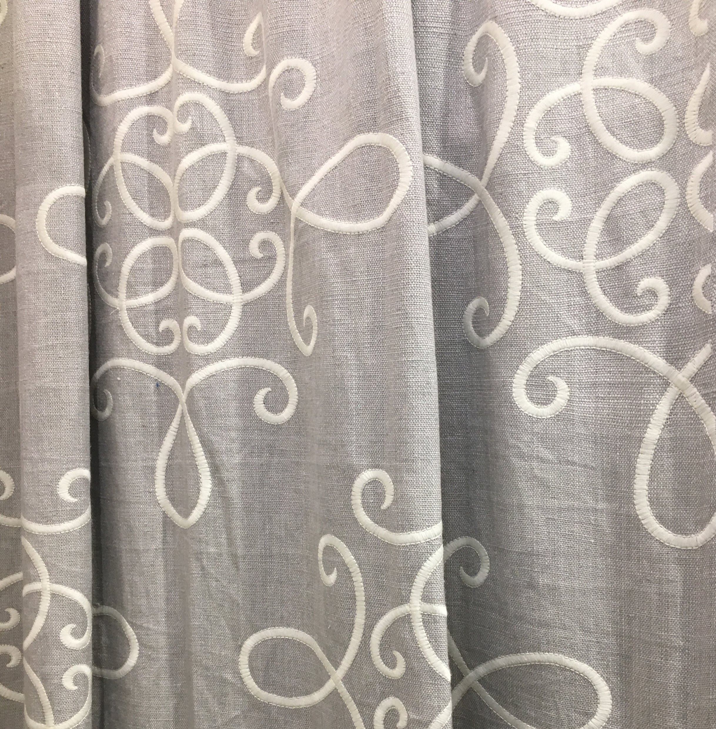 gray embroidered linen