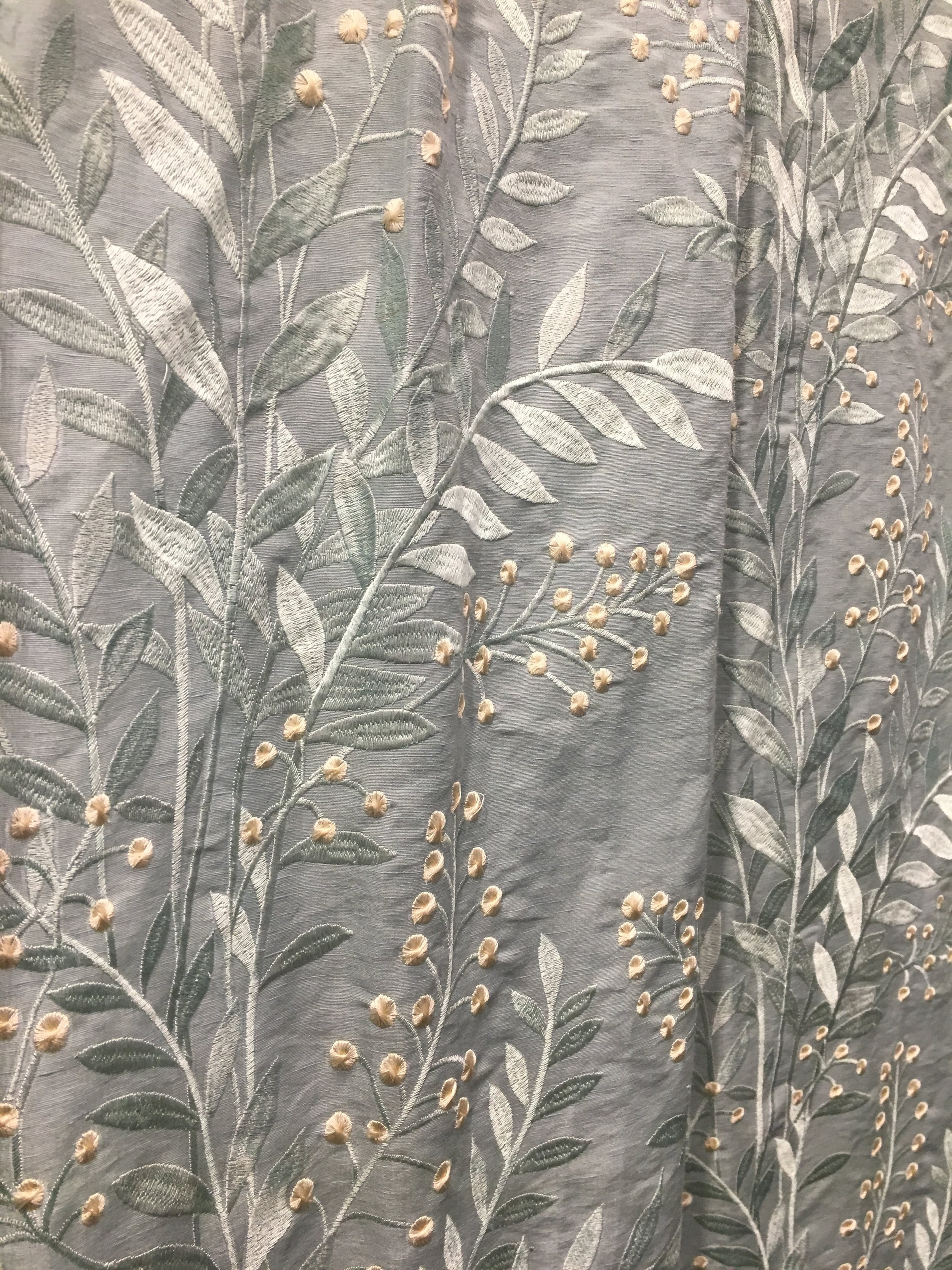 embroidered gray silk