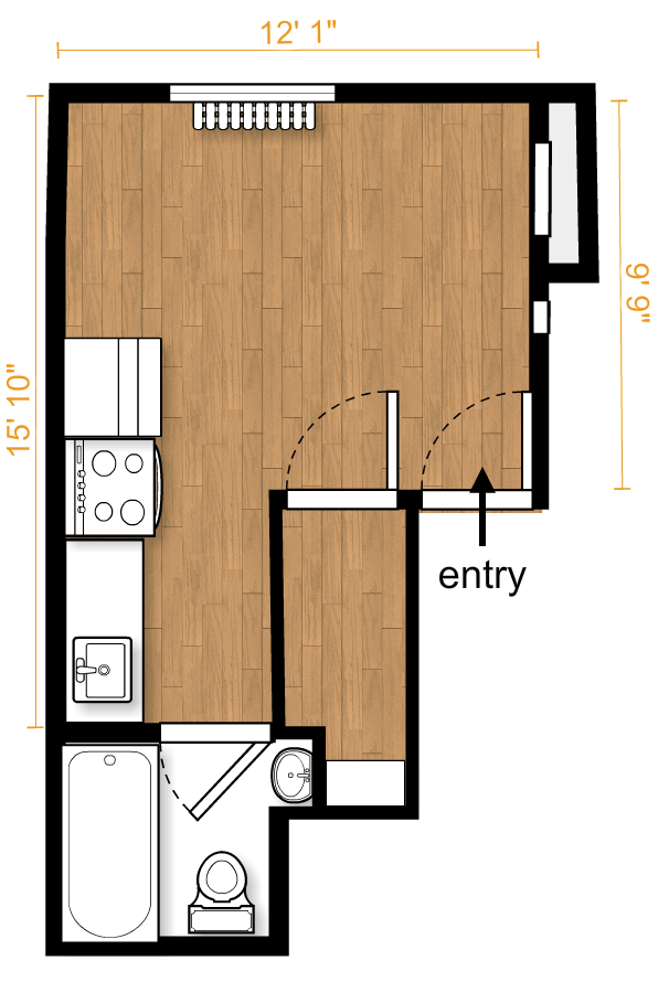 """Actual measurements of the apartment...as taken by his father, who is an engineer, so they came with notes like 1 square = 4.71""""?! In any case, at least now I had accurate measurements to work with.The wall near the entry was a bit shorter than advertised, and the closet a little skinnier. But the window wall was a few precious inches longer than we thought...okay only 3"""", but that's better than shorter, and now we knew exactly where the window and photogenic radiator were located."""