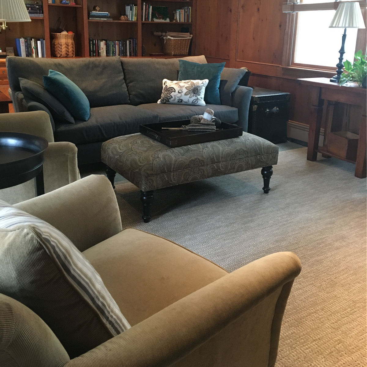 Tailored neutral family room furniture