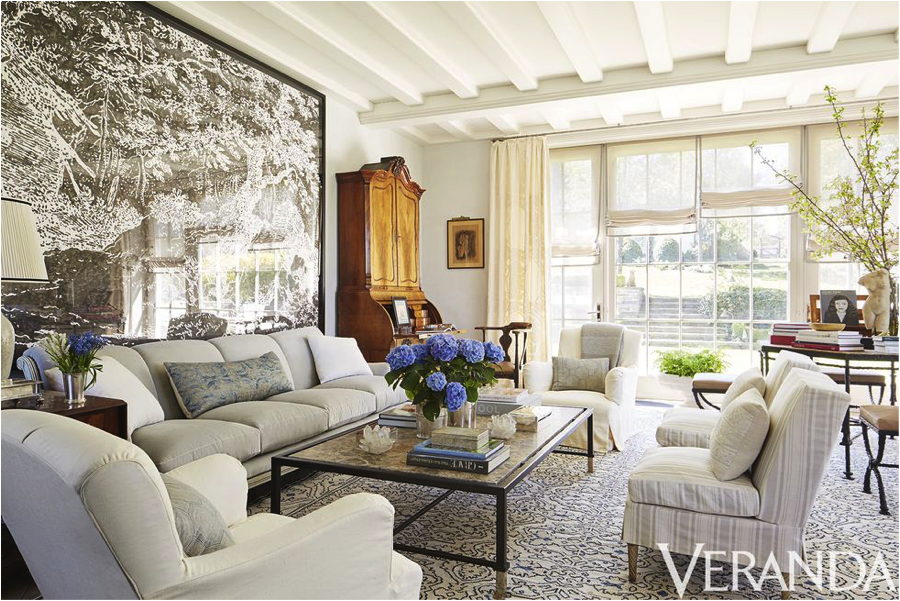 Chic, tailored slipcovers. Image via  Veranda