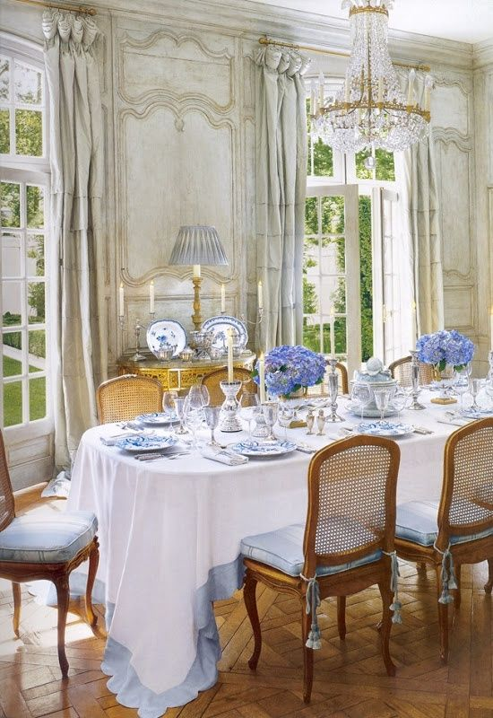 French paneled dining room at the house of interior designer  Ginny Magher  / source:  The Houses of Veranda by Lisa Newsom