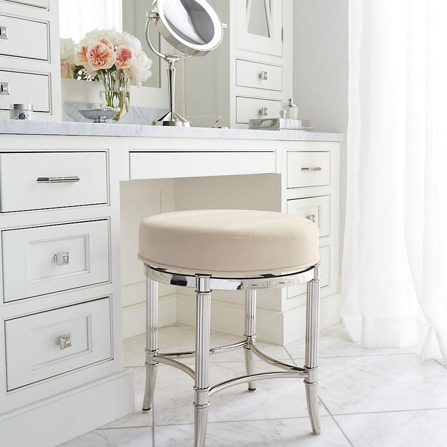Polished chrome swivel stool from   Frontgate