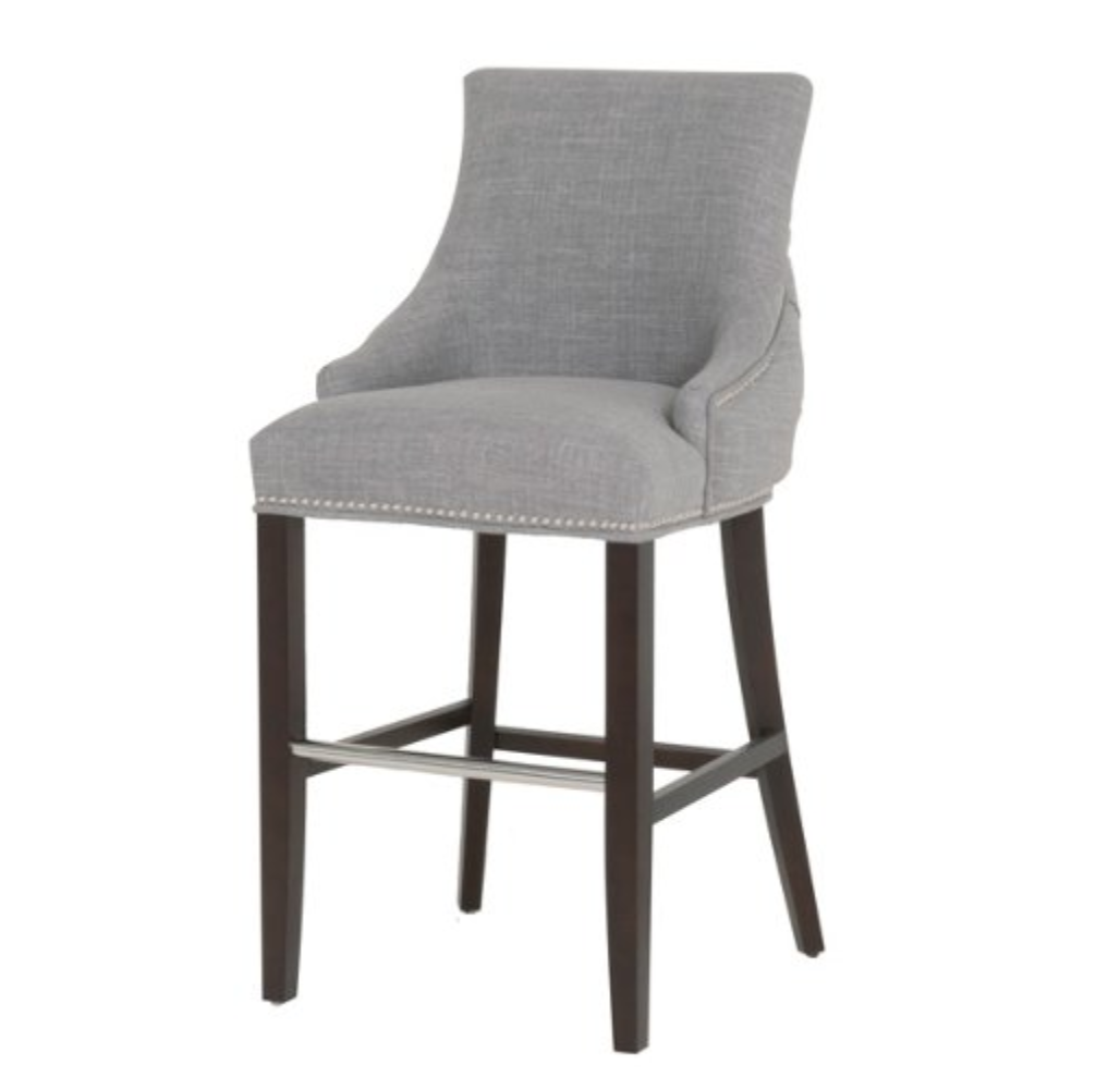 upholstered gray counter stool