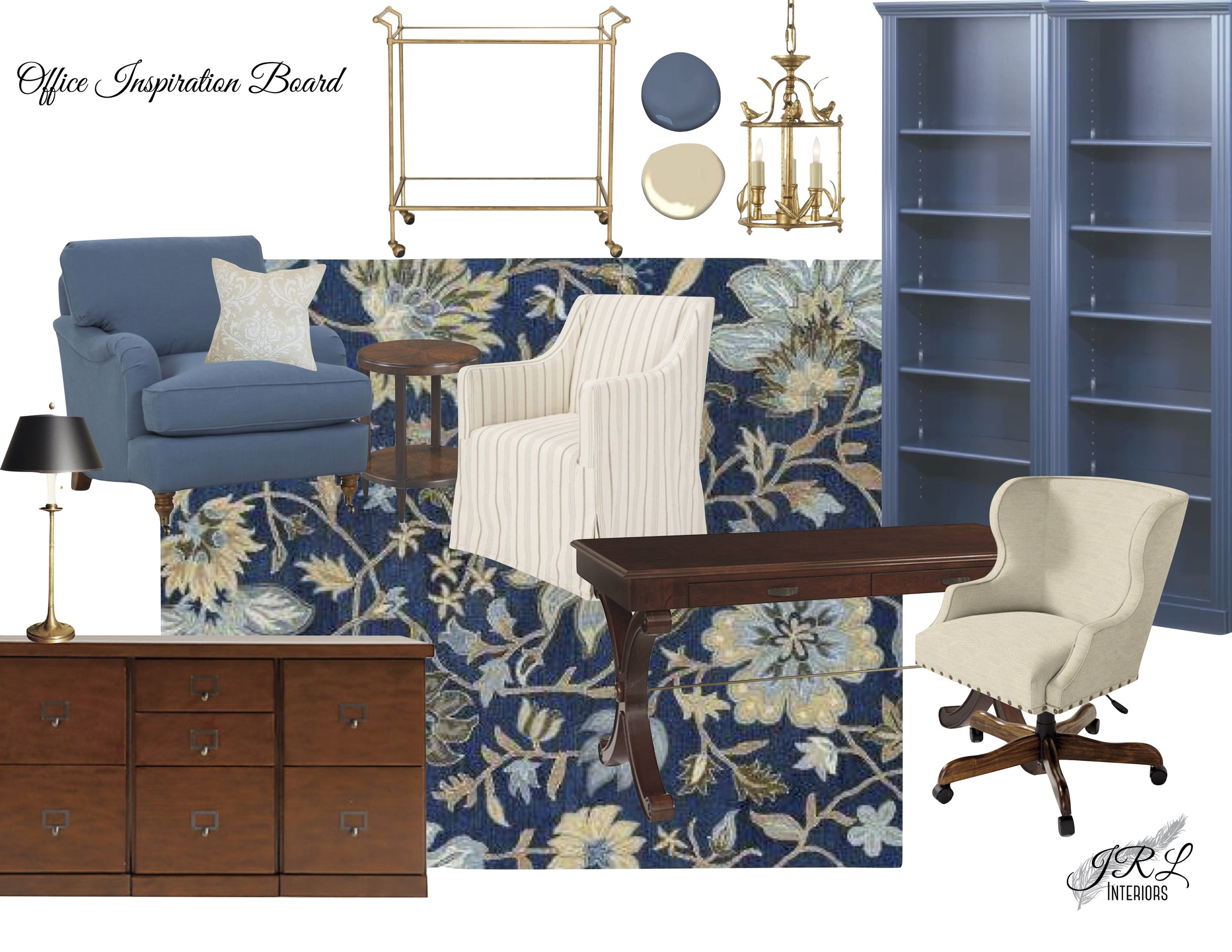 Shop the look:   Bar Cart   |   Lantern   |   Bookcases   |   Desk Chair   |   Wool Rug   |   Writing Desk   |   Credenza   |   Table lamp   |   Club Chair   |   Throw Pillow   |   Side Table   |   Slipcovered Chair