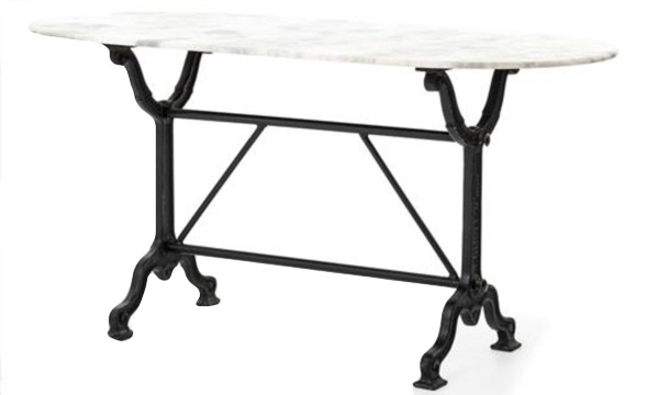 Marble topped oval writing desk with iron base