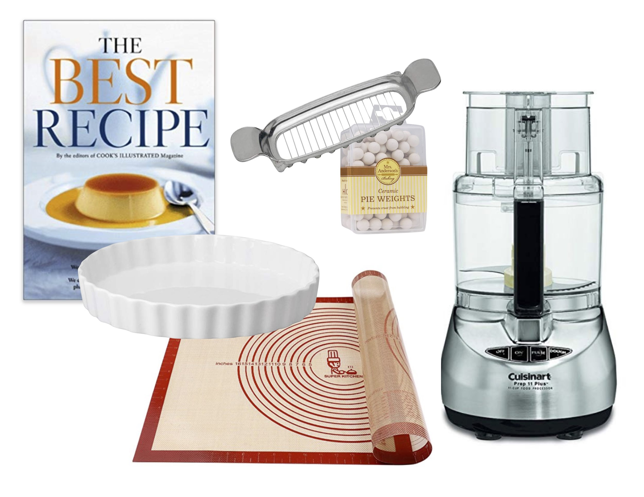 Cookbook   |   Quiche Dish   |   Pastry Mat   |   Food Processor   |   Pie Weights   |   Butter Slicer