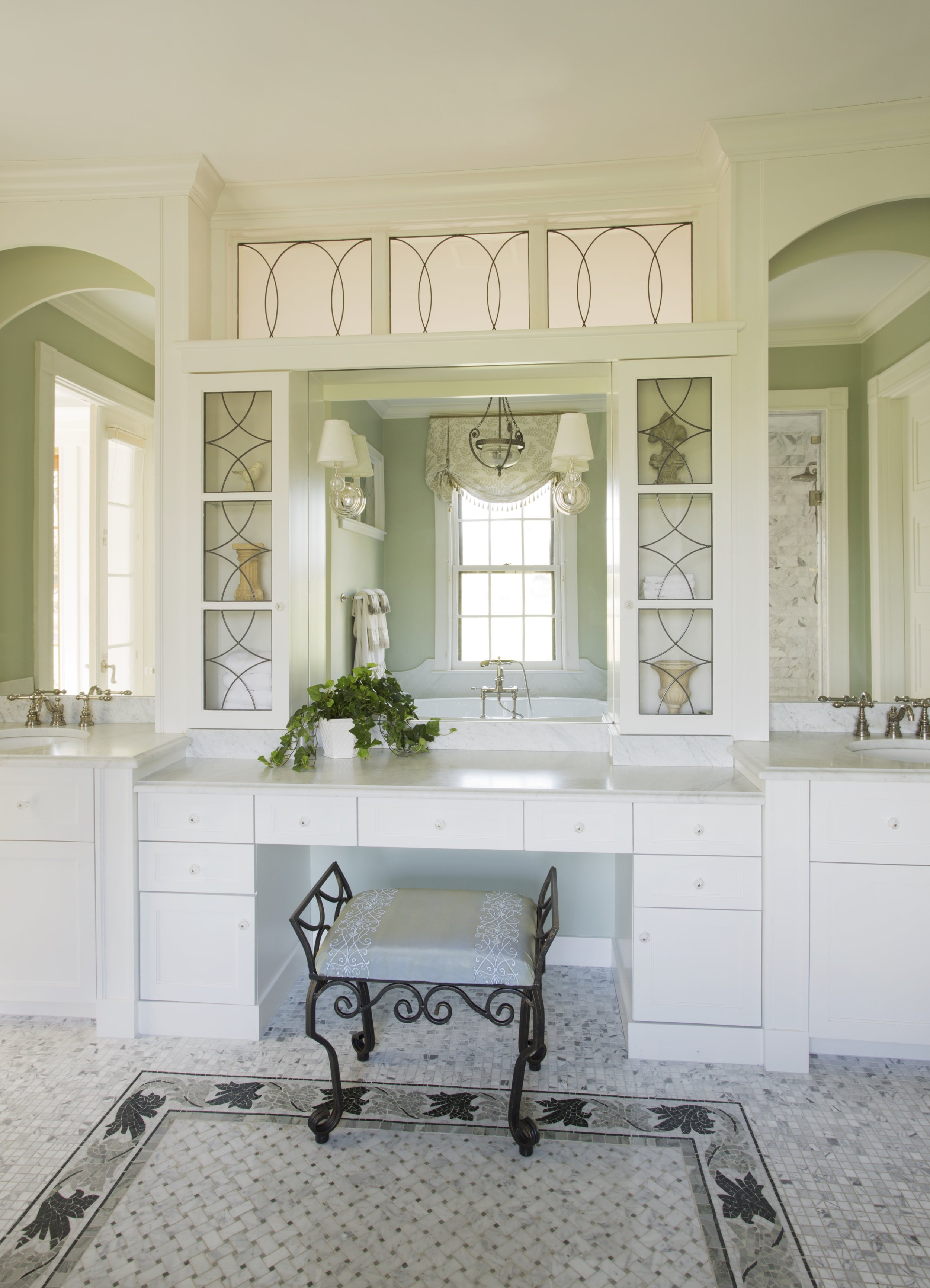 "These bathroom wall sconces were mounted on the mirror - an excellent way to double the light! They are mounted at about 65"" from the floor which is ideal if you are standing. Since this is a vanity area with a lower countertop, they could also be mounted a bit lower."