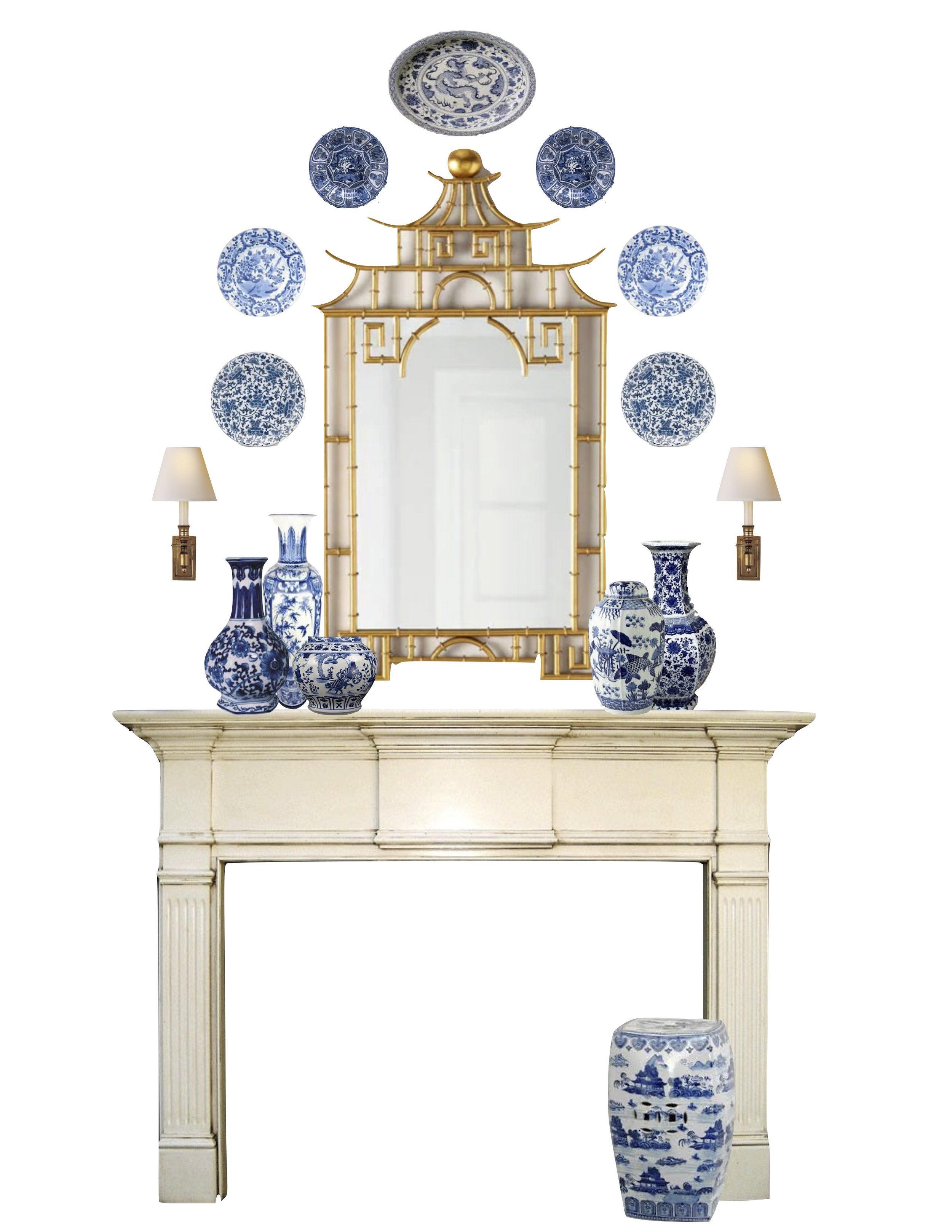 Sconces   |   Mirror   |   Garden Stool   |   Blue Porcelain    Vase