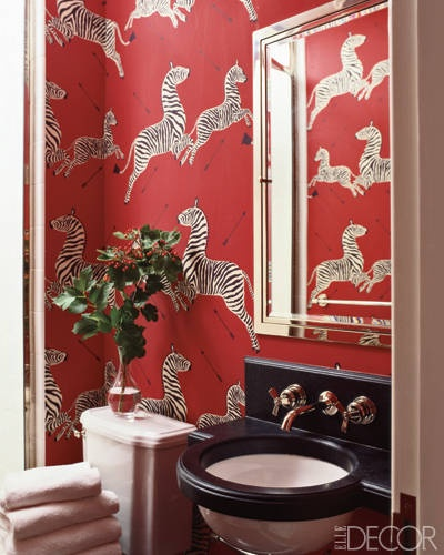 Zebra wallpaper by Scalamandré in this striking powder room by   Miles Redd     photo by   Miguel Flores-Vianna   via   Elle Decor