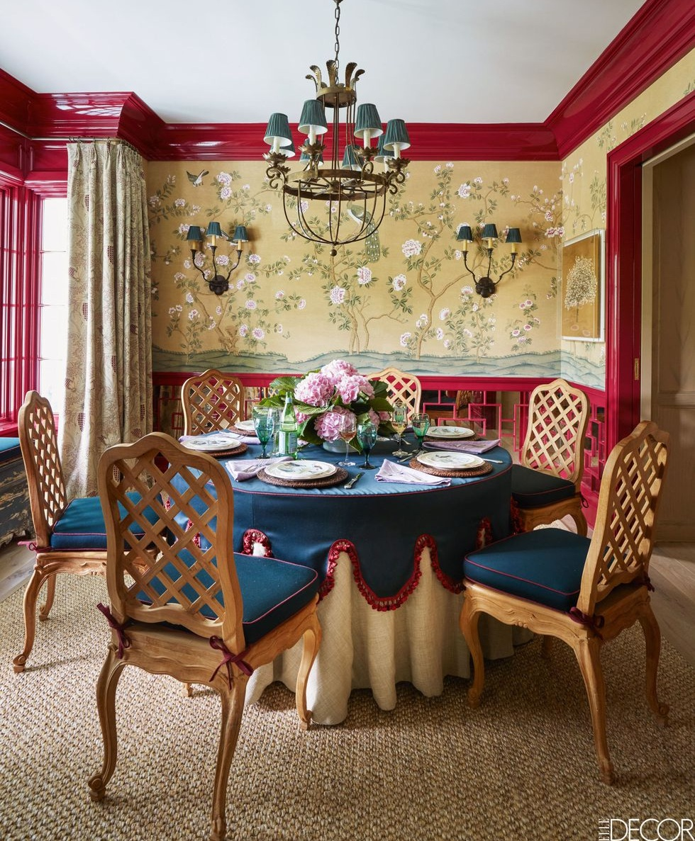 Dining room with Fromental wallcovering by   Celerie Kemble,   photo by   Thomas Loof   via   Elle Decor