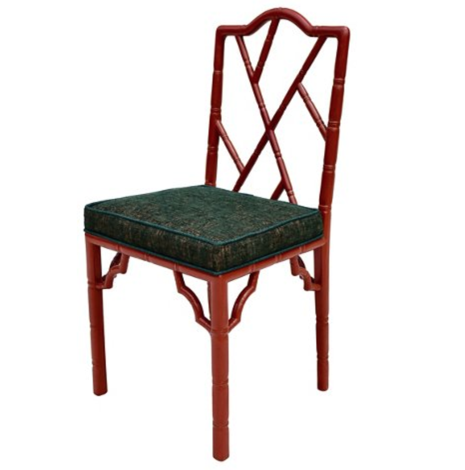 vintage red faux bamboo chair