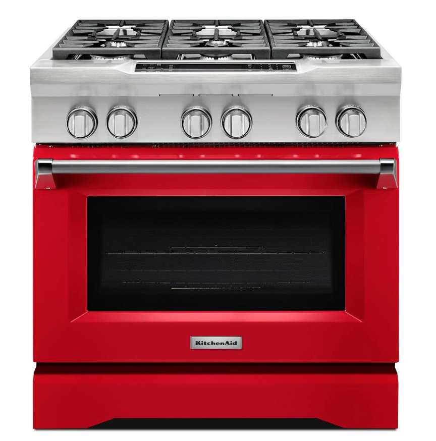 dual fuel kitchen aid range in cherry red