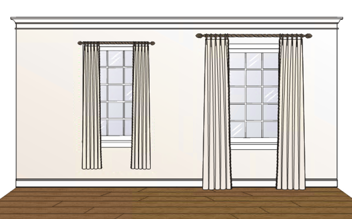 "In this illustration, the two windows are EXACTLY THE SAME SIZE. The curtains on the left are mounted on the window frame and don't reach the floor, the ones on the right are mounted above the window frame and fall to the floor giving the room a greater feeling of height, and 8"" beyond the casing on each side exposing the greatest amount of glass and making the window feel much more generous."