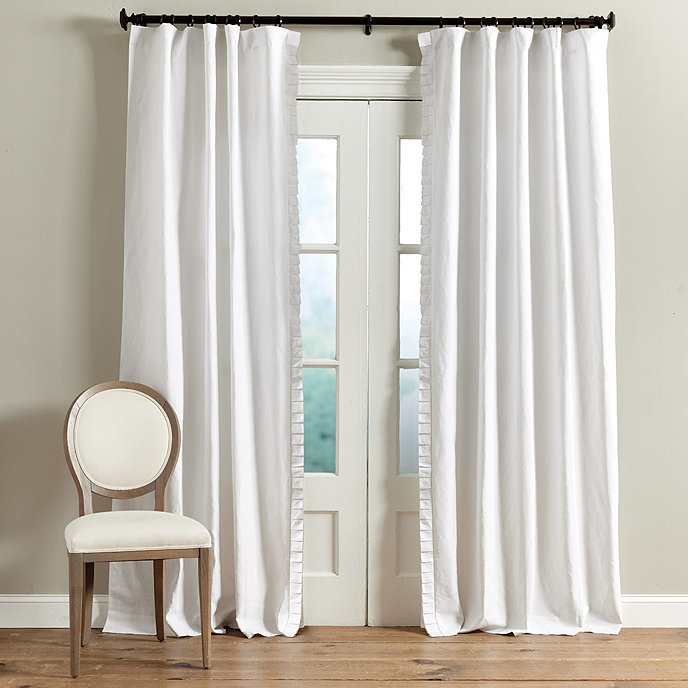 pleated edge trimmed linen panels
