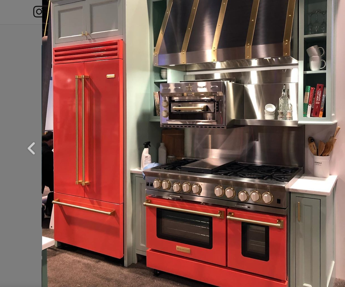 Fire engine red appliances from   Bluestar at KBIS
