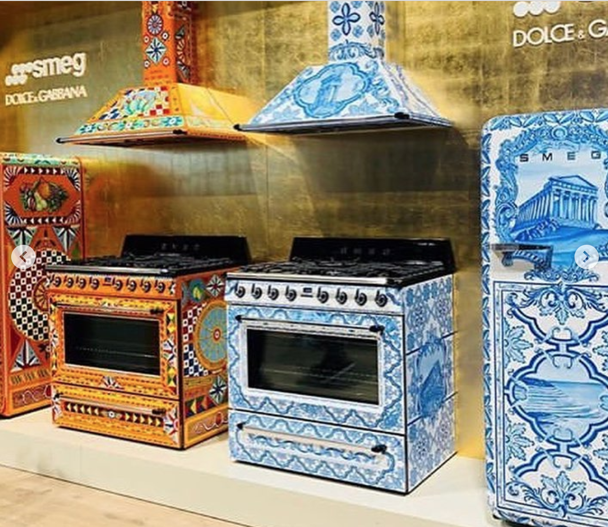 Dolce and Gabbana patterned appliances at   Smeg USA at KBIS
