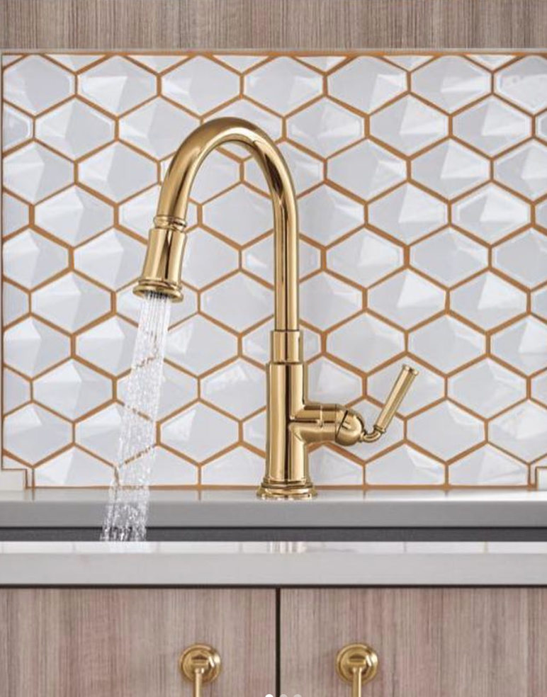 Brizo kitchen faucet   in a polished gold finish