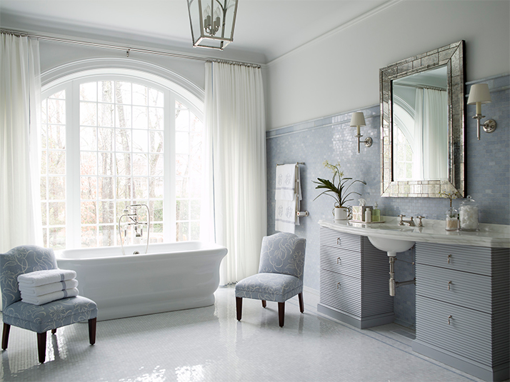 This classic bath is anything BUT boring! Design by   Phoebe Howard