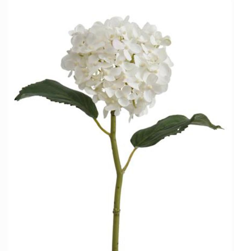 white faux hydrangea